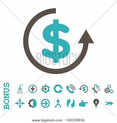 Refund vector bicolor icon. Image style is a flat iconic symbol, grey and cyan colors, white background.