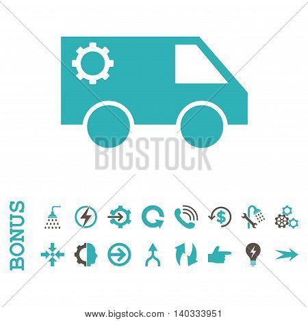 Service Car vector bicolor icon. Image style is a flat iconic symbol, grey and cyan colors, white background.