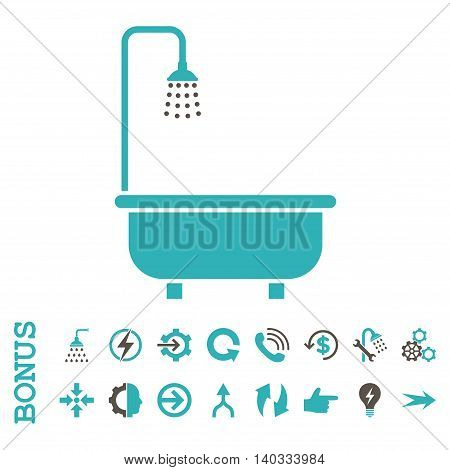 Shower Bath vector bicolor icon. Image style is a flat iconic symbol, grey and cyan colors, white background.