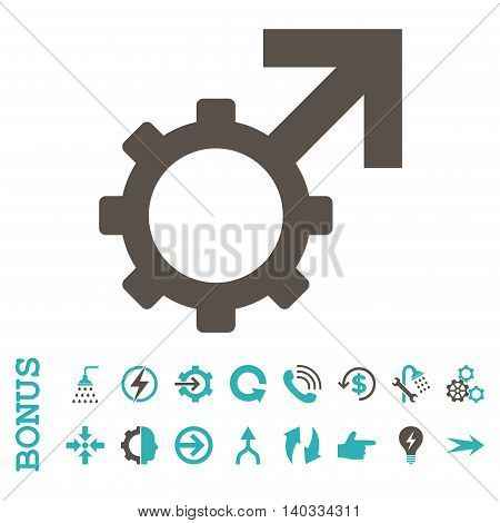 Technological Potence vector bicolor icon. Image style is a flat iconic symbol, grey and cyan colors, white background.