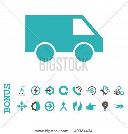 Van vector bicolor icon. Image style is a flat iconic symbol, grey and cyan colors, white background.