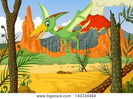 funny pterodactyl cartoon flying with forest landscape background