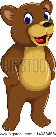 funny bear cartoon smiling for you design