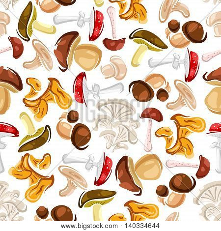 Mushrooms seamless background. Vector wallpaper with pattern of amanita, champignon, lactarius, boletus, chanterelle