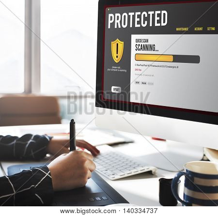 Protected Phishing Software Problem Concept