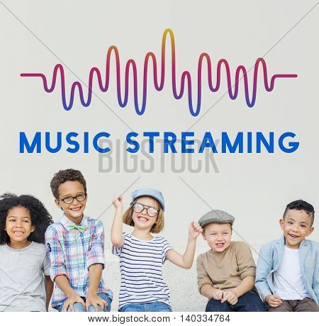 Online Music Audio Music Streaming Wave Graphic Concept