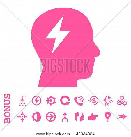 Brainstorming vector icon. Image style is a flat pictogram symbol, pink color, white background.