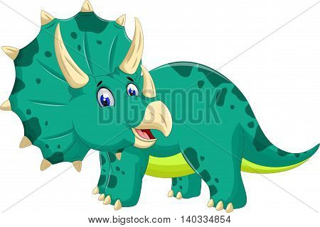 cute Triceratops cartoon posing look at camera