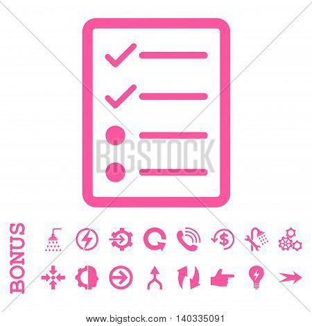 Checklist Page vector icon. Image style is a flat iconic symbol, pink color, white background.