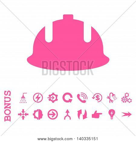 Construction Helmet vector icon. Image style is a flat iconic symbol, pink color, white background.