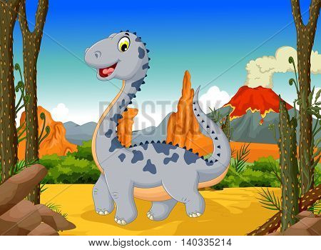 funny cute dinosaur cartoon posing in the jungle with landscape background