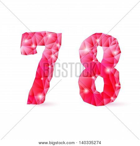 Shiny ruby polygonal font on white background. Crystal style 7 and 8 numerals