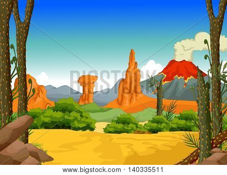 beauty deep forest with volcano landscape background