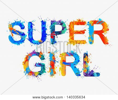 Super girl. Vector watercolor splash rainbow inscription