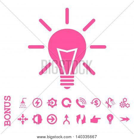 Electric Light vector icon. Image style is a flat pictogram symbol, pink color, white background.