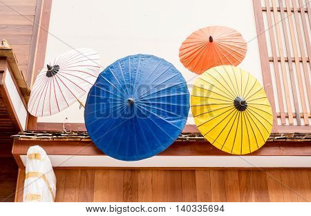 Colorful Japanese Umbrella Use To Decoration Infront Of Shop.