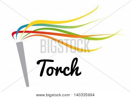 a torch with colorful strips using for sport competition presentation