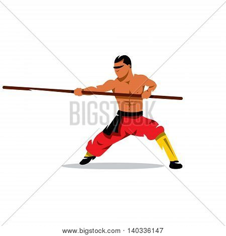 Man practicing martial arts with a pole. Isolated on a white background