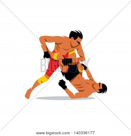 Two men fighting. Isolated on a white background