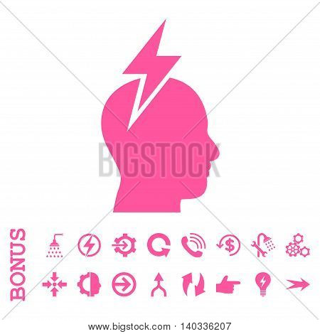 Headache vector icon. Image style is a flat iconic symbol, pink color, white background.