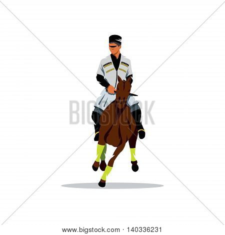 Beautiful man is in traditional clothes of Georgia. Isolated on a white background