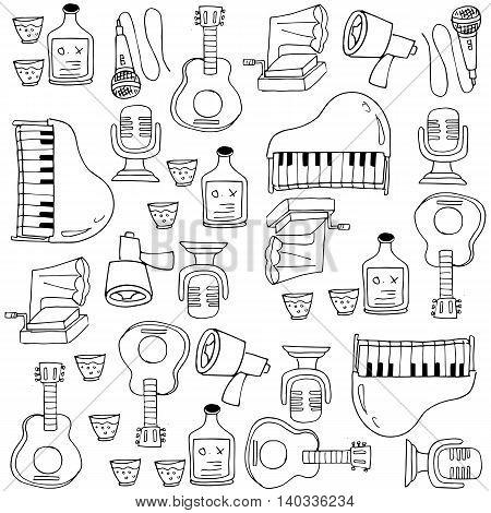 Doodle of music set vector art illustration