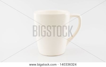 Ceramic Coffee Cup On Grey Background ,clipping Path On Cup