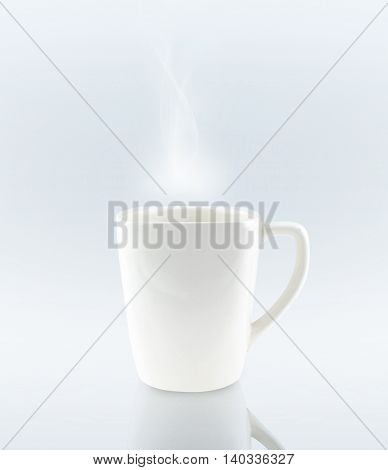 Ceramic Coffee Cup On Grey Background With White Smoke  ,clipping Path On Cup
