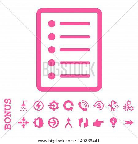 List Page vector icon. Image style is a flat iconic symbol, pink color, white background.