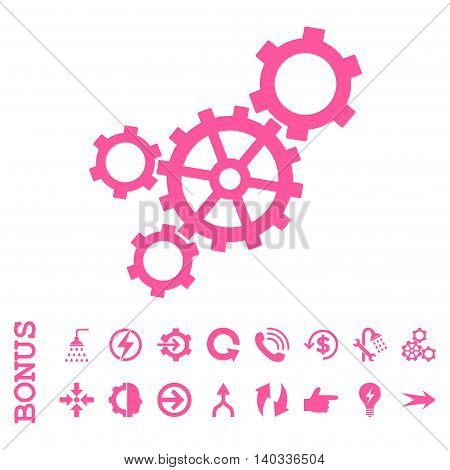 Mechanism vector icon. Image style is a flat pictogram symbol, pink color, white background.