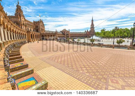 The columns of Square of Spain, in Spanish Plaza de Espana in Seville, Andalusia, Spain.
