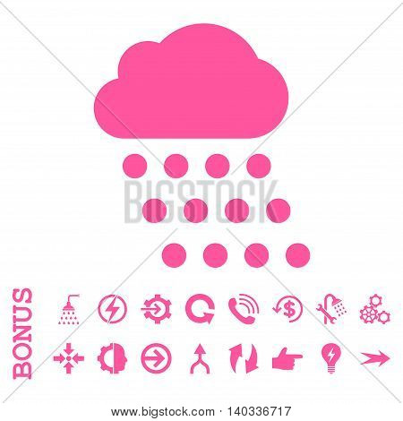 Rain Cloud vector icon. Image style is a flat pictogram symbol, pink color, white background.