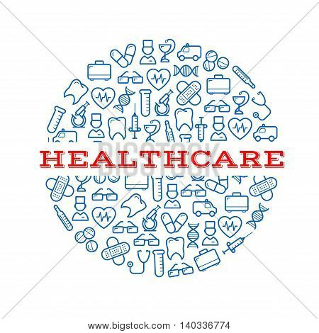 Composite silhouette of a round pill with blue icons of syringes, pills and capsules, microscopes, stethoscopes and thermometers, ambulances, teeth and hearts, doctors, first aid kits and glasses, plasters and dna helixes. Healthcare, medicine design