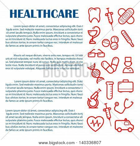 General medicine banner design template for medical and healthcare websites, infographics and printed materials with red icons of doctor , ambulance and stethoscope, syringes, pills and thermometer, tooth, heart and microscope, test tube and DNA