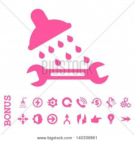 Shower Plumbing vector icon. Image style is a flat iconic symbol, pink color, white background.