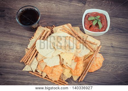 Vintage Photo, Heap Of Unhealthy Food, Sauce With Basil And Cola On Wooden Board