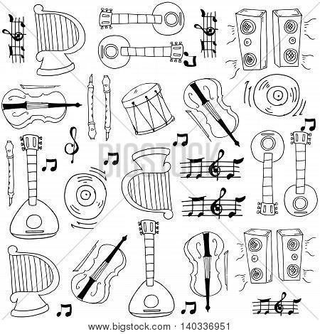 Music doodles set hand draw vector art