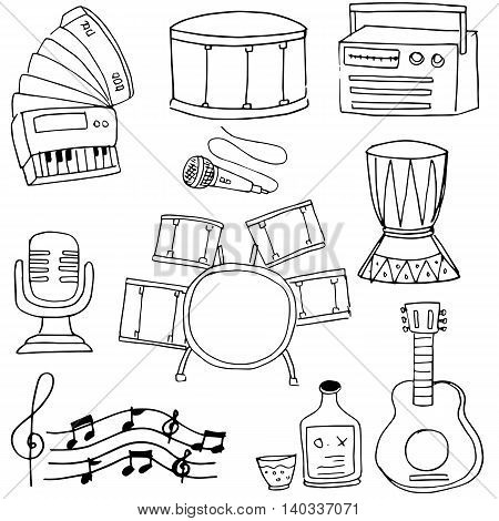 Doodle of music object vector art with hand draw