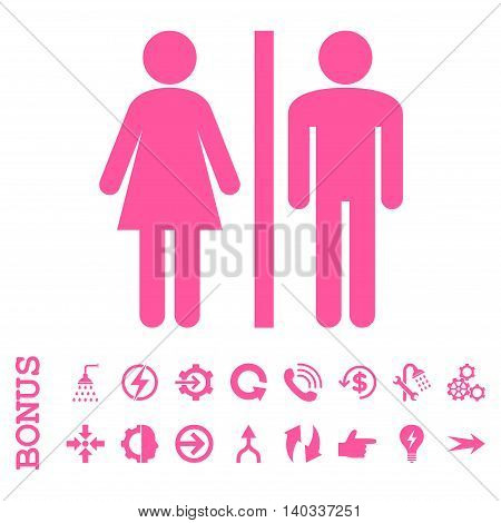 WC Persons vector icon. Image style is a flat iconic symbol, pink color, white background.
