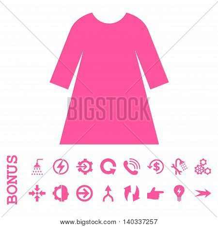 Woman Dress vector icon. Image style is a flat pictogram symbol, pink color, white background.
