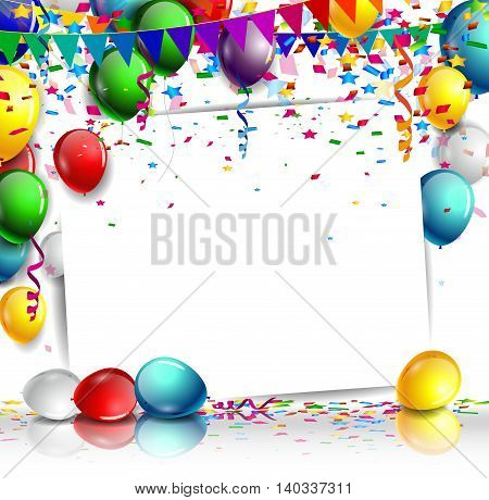 birthday background with balloon on white background