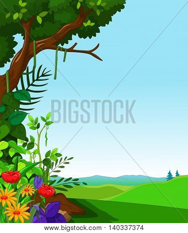 morning view with green forest landscape background