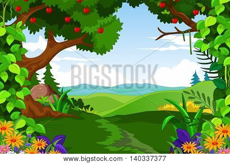 beauty green forest with landscape for you design