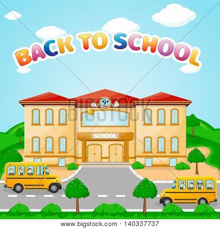 illustration of school building for back to school banner or poster design