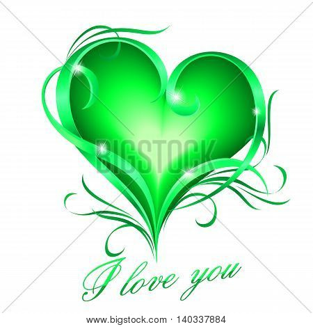 Glowing green heart with floral decoration and I love you text