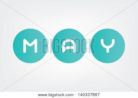 may, Names of months of the year in white background