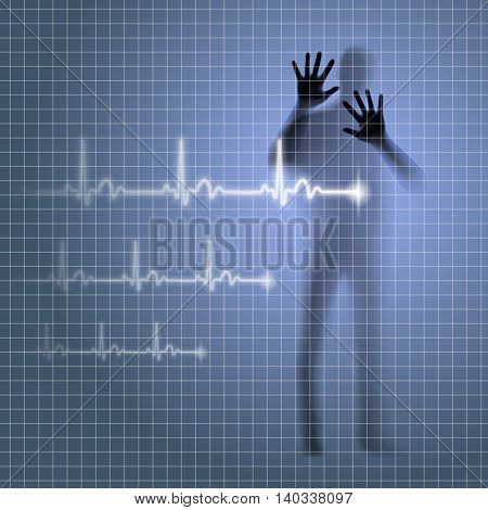Blurred medical background with human silhouette and cardiogram line, vector