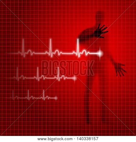 Medical background with human silhouette and cardiogram line