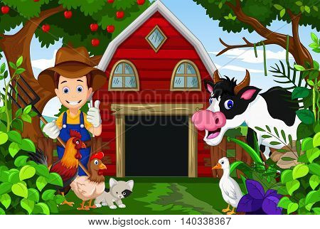 farmer at his farm with a bunch of farm animals