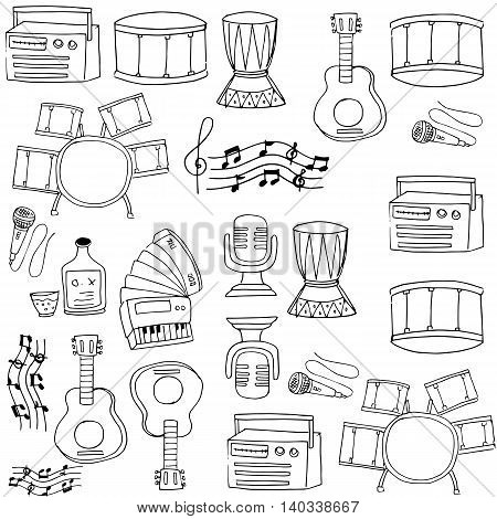 Doodle of music on white backgrounds vector art